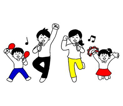 가라오케를 즐기는 가족 (간단)