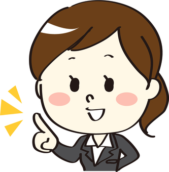 Suit female pointing