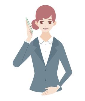 婦女呼籲智能手機(穿西裝)