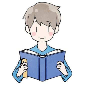 讀書男孩的秋天