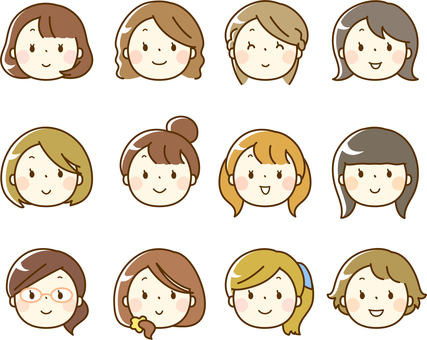 Various female face icons (face only)