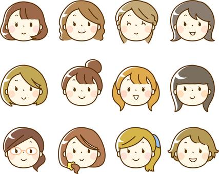 Varios iconos de rostro femenino (solo cara)