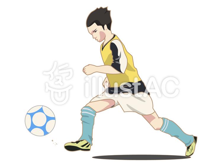 人物-男の子-サッカーのイラスト
