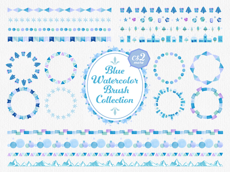 Watercolor line brush set / winter / blue