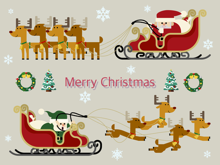 Santa and reindeer and sled illustration set