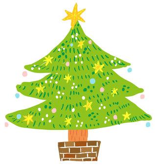 Christmas tree hand-drawn wind