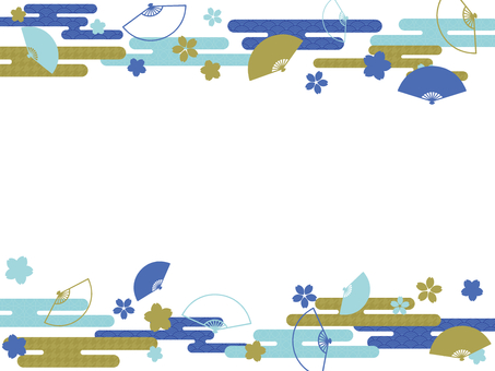 Japanese Style Cherry Blossoms and Fan Blue