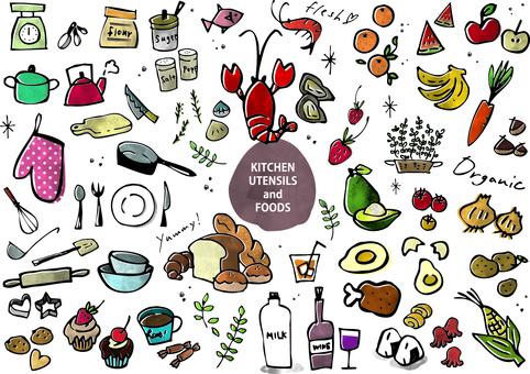 キッチン用品と食べ物