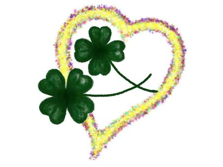 Four-leaf clover and heart