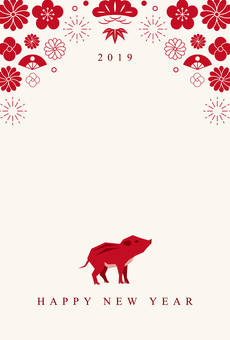 New Year's card 009 Fun Japanese style 2019