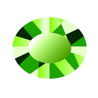 타원형의 보석 - 녹색