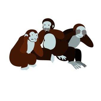 보고 원숭이라고 원숭이 들려 원숭이