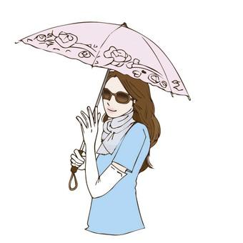 一個女人拿著一把遮陽傘