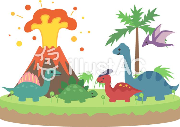 かわいい恐竜の島のイラスト