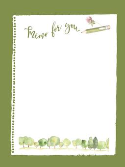 Memo paper 4 - Fresh green tree trees
