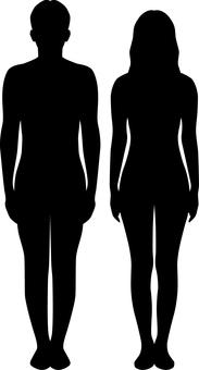 Body line _ silhouette _ men and women _ black