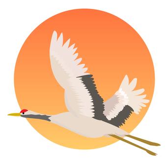 Hinomaru and cranes