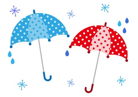 Polka dots umbrella pair