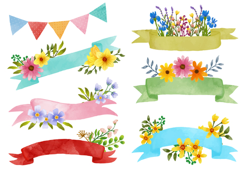 Watercolor ribbons and flowers