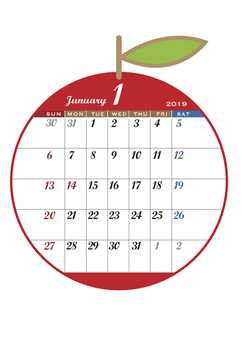 2019 Apple Calendar January