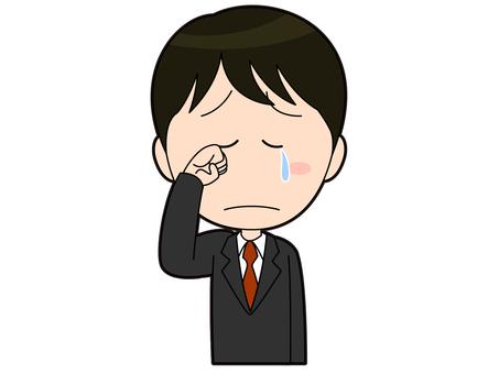 泣くスーツを着た男性会社員_018