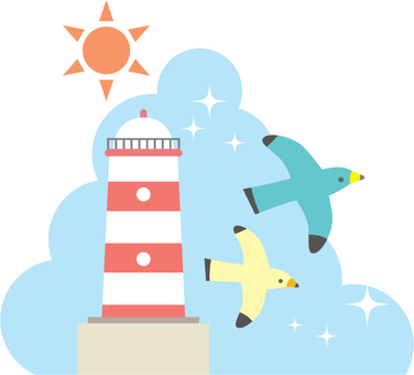 Illustration of a lighthouse and a seagull