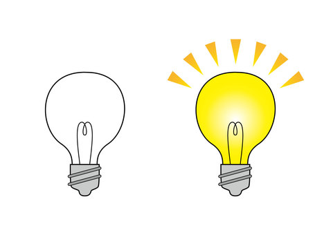 Illustration of two bulbs (turned off and lit)