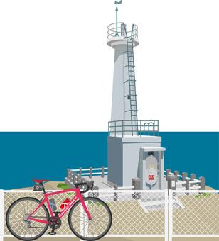 灯台とロードバイク 響灘