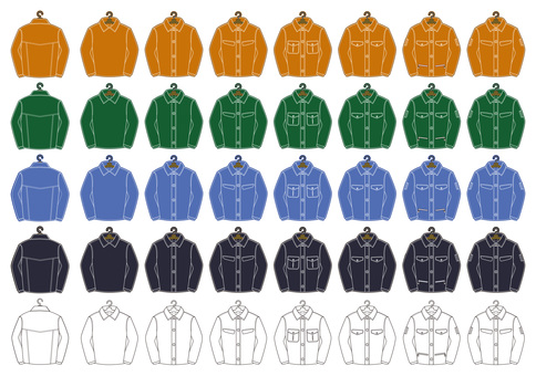 Colored working clothes set (with hanger)