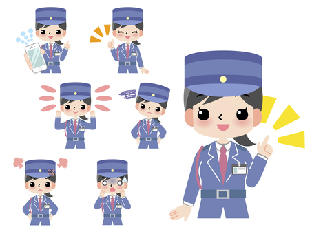Security woman upper body 7 poses assortment set