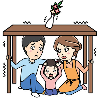 Family hiding under table in earthquake