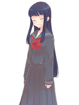 Sailor suit girl standing picture (sad)