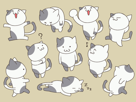 Illustration of cute cats (gray and white)