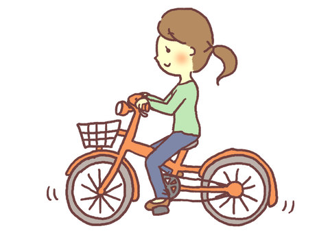 A woman riding a bicycle (left)