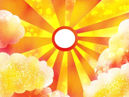 鍍金的光線穿過太陽中間
