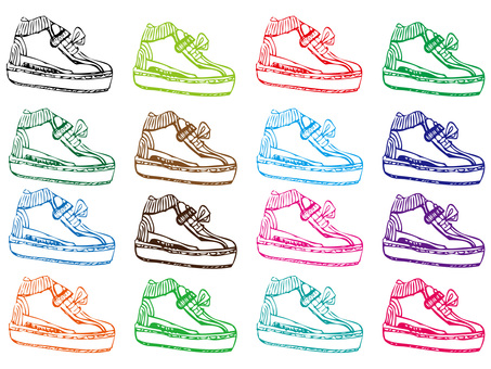 Sports shoes sneakers handwritten illustration material set
