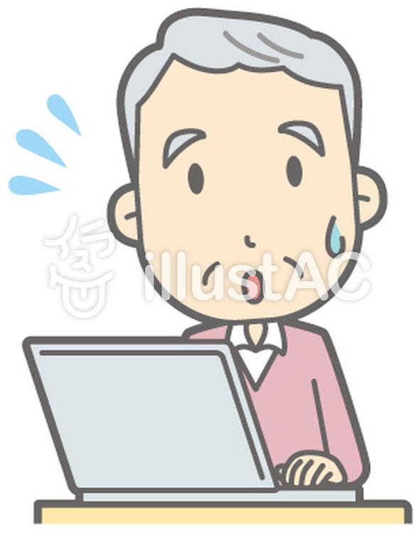 老人男性C-PC焦る-バストのイラスト