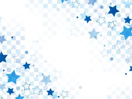 "Star pattern checkered frame ""Blue"""