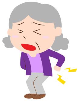 허리 아픈 할머니의 일러스트
