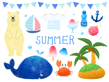 Summer illustrations Hand-drawn wind