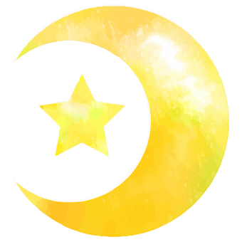 Watercolor moon and star yellow