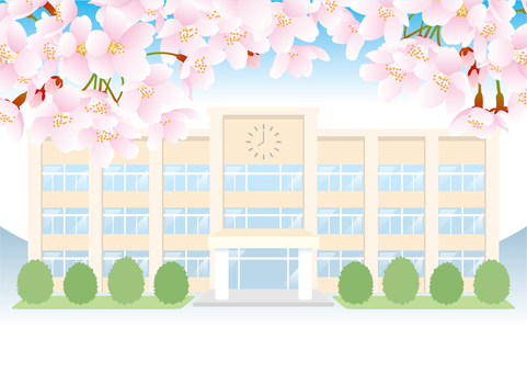 Cherry blossoms and school building (no gate)