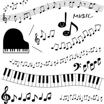 Music material set-piano, sheet music, notes, keyboard