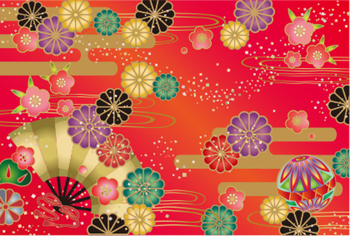 Japanese pattern card fan and chrysanthemum red ground