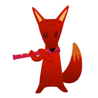 Fox blowing a flute
