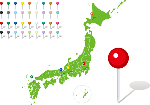 Japan Map Prefecture Map Pin