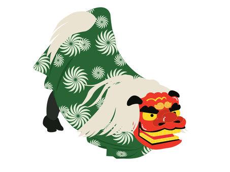 Lion dance green