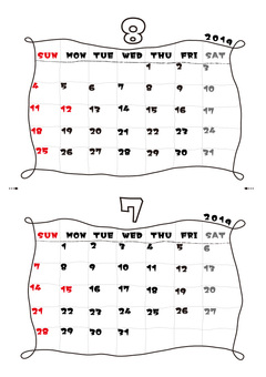 Simple Calendar 2019 (July / August)