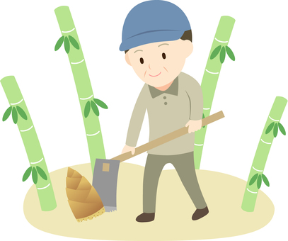 Illustration of a Man Digging a Bamboo Shoot in the Mountain