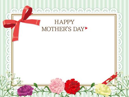 母親節康乃馨的花圈卡片黃色綠色05